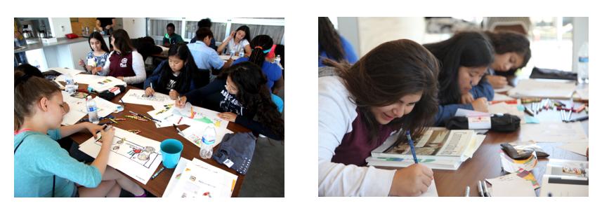 children drawing at AIGA Partnership 4 Kids