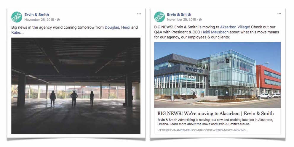 Facebook posts with E&S new office announcement